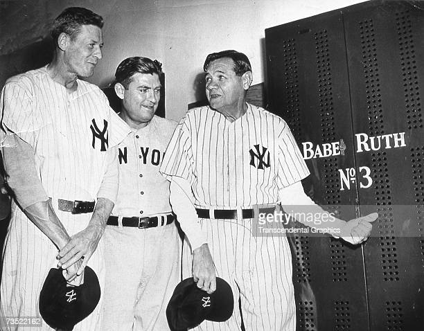 Babe Ruth visits his old locker in Yankee Stadium for the last time on June 13, 1948. On this day Ruth's uniform number was permanently retired. WIth...