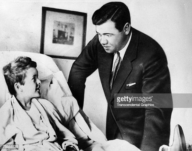 Babe Ruth visits young Johnny Sylvester a fan suffering from a spinal infection in a New York Hospital during the season of 1926