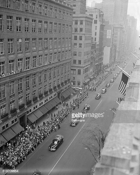 Babe's last journey Crowds of mourning fans jam the sidewalks to watch the funeral procession for Babe Ruth as it moves toward St Patrick's Cathedral...