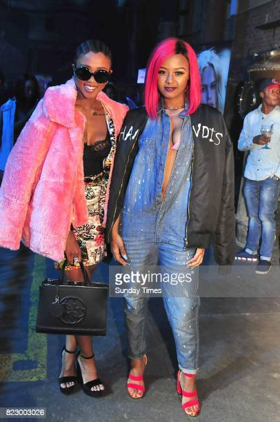 Babes Wodumo and Nomuzi Mabena during the Guess spring 2017 collection preview at the Tin Factory Krammerville on July 20 2017 in Sandton South...