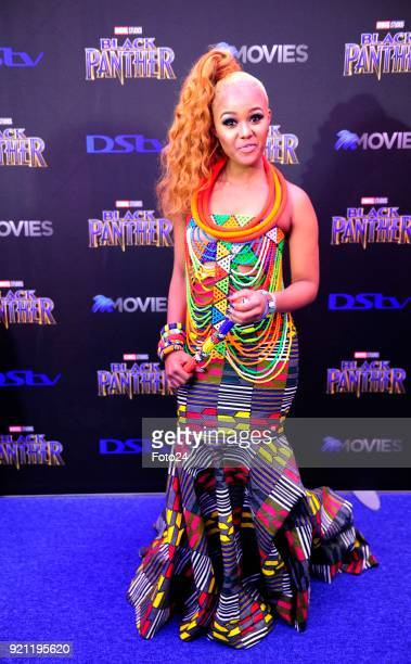Babes Wodumo during the Black Panther movie premiere at Montecasino on February 16 2018 in Fourways South Africa Your culture in South Africa...