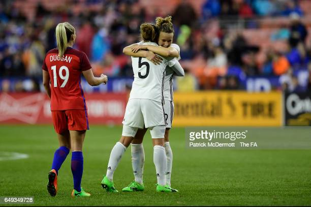 Babett Peter and Josephine Henning of Germany celebrate after Germany defeated England 1-0 during the 2017 SheBelieves Cup at RFK Stadium on March 7,...
