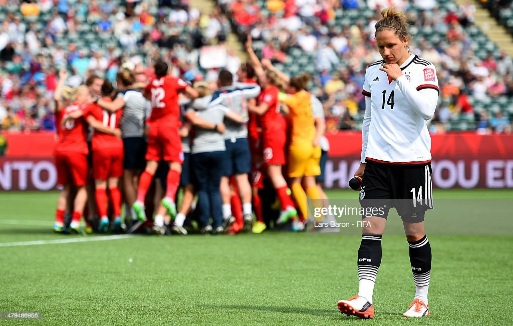 Babett Peter of Germany looks dejected after loosing the FIFA Women's World Cup 2015 Third Place Play-off match between Germany and England at Commonwealth Stadium on July 4, 2015 in Edmonton, Canada.