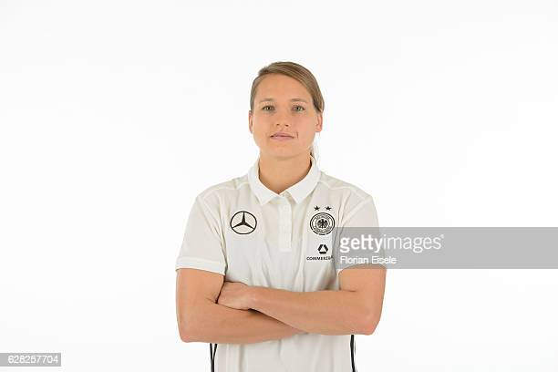 Babett Peter poses in the new home jersey of the German women's national soccer team on November 25, 2016 in Chemnitz, Germany.