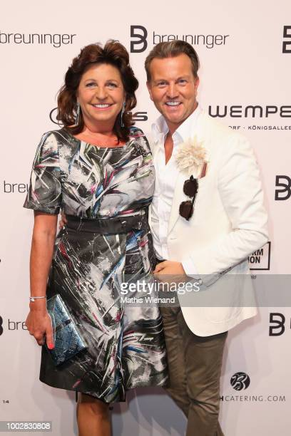 Babette Albrecht and Sandro Rath attend the Breuninger show during Platform Fashion July 2018 at Areal Boehler on July 20 2018 in Duesseldorf Germany