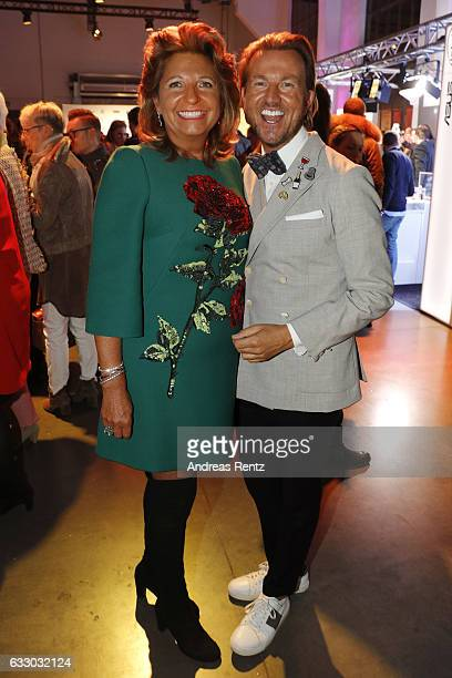 Babette Albrecht and Sandro Rath attend the Thomas Rath after party during Platform Fashion January 2017 at Areal Boehler on January 29 2017 in...