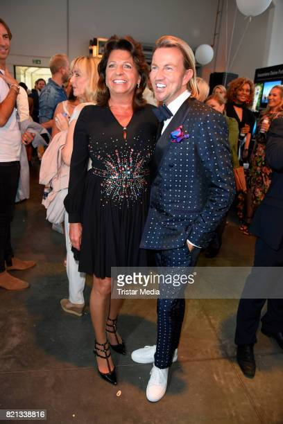 Babette Albrecht and Sandro Rath attend the Thomas Rath show during Platform Fashion July 2017 at Areal Boehler on July 23 2017 in Duesseldorf Germany