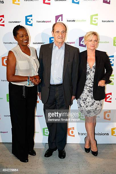 Babette de Rozieres Pierre Lescure and AnneElisabeth Lemoine attend the 'Rentree De France Televisions' at Palais De Tokyo on August 26 2014 in Paris...