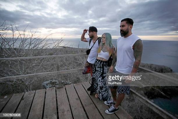Babiery Hernández of Ink Master Megan Massacre tattoo artist and Stefano Alcantara tattoo artist during her visit to the Galapagos Islands walks...