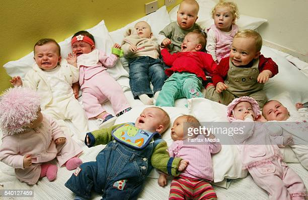 Babies born from each month of the past year at the Belmont Birth Centre's first birthday Newcastle New South Wales 4 July 2006 NCH Picture by DARREN...