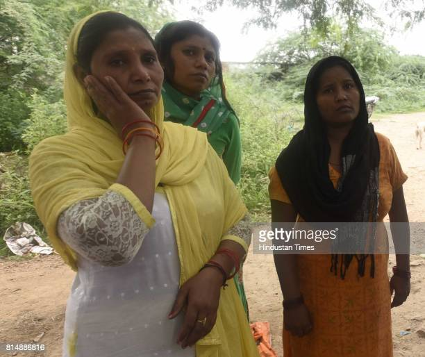 Babita Geeta and Anu sisters of Anil Kumar crying who was died during the septic tank cleaning at Ghiloni in Chattarpur area on July 15 2017 in New...