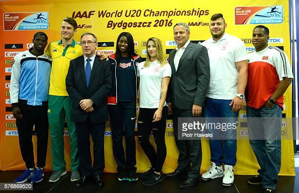 Baboloki Thebe of Botswana Kurtis Marschall of Australia IAAF General Secretary Jean Gracia Candace Hill of USA Ewa Swoboda of Poland Rafal Bruski a...