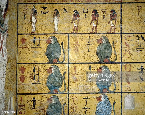 Baboons 1st hour of the Book of Amduat detail from the frescoes in the burial chamber of the Tomb of Tutankhamun Valley of the Kings Luxor Thebes...