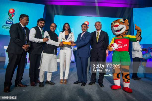Babul Supriyo play back singer and Minister of State in India Vijay Goel Sports Minister India P V Sindhu Indian Badminton player Praful Patel...