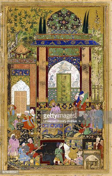 Babur holding Court 1589 Babur conqueror from Central Asia who succeeded in laying the basis for the Mughal dynasty in the Indian subcontinent and...