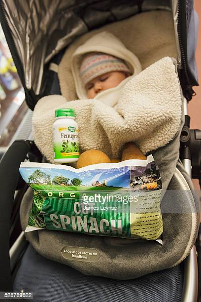 A baby and stroller doubles as a shopping cart at the Park Slope Food Coop in Brooklyn Formed in 1973 the Coop is one of the oldest and largest food...