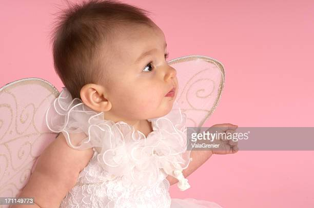 Baby angel on pink.