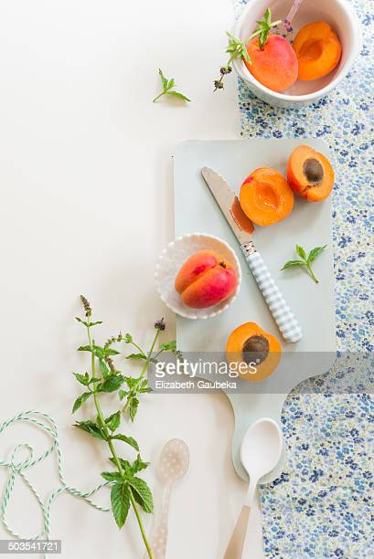 Baby Apricots and Fresh Mint Leaves