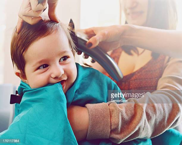 Baby at the hairdresser