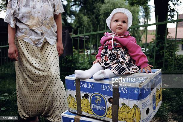 A baby at the refugee centre set up at the Tuzla Woman and Child Centre for survivors and refugees of the Srebrenica massacre