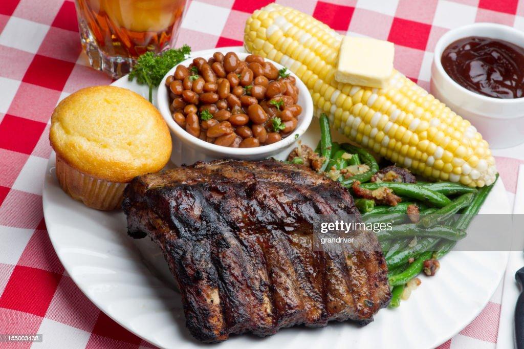 Baby Back Pork Ribs, Baked Beans, Corn on the Cob : Stock Photo