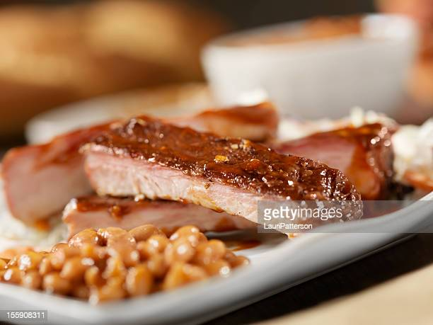 Baby Back Pork Ribs With Baked Beans
