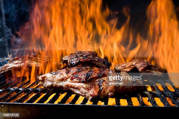 Baby Back Ribs on a Flaming Grill