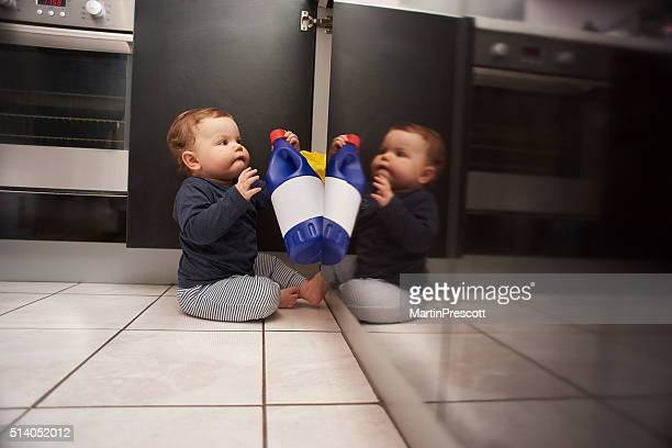 baby bleach kitchen danger - toxin stock pictures, royalty-free photos & images