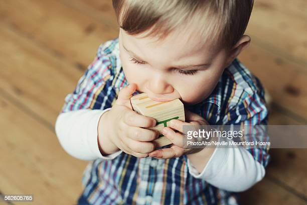 Baby boy chewing on wooden toy block