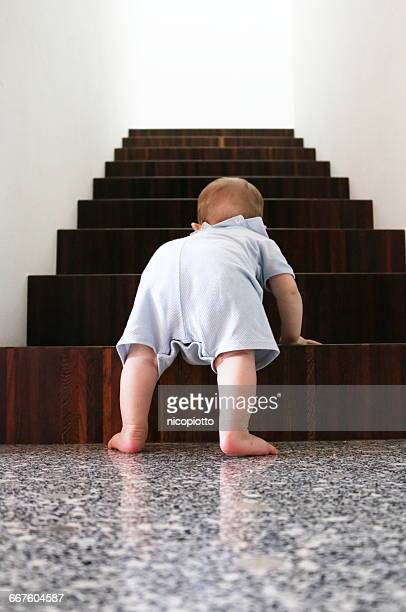 Baby boy climbing wooden stairs