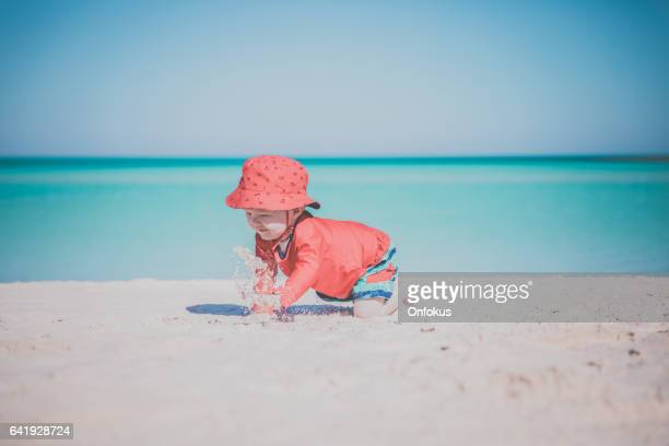Baby Boy Crawling on Tropical Beach, Cayo Coco, Cuba