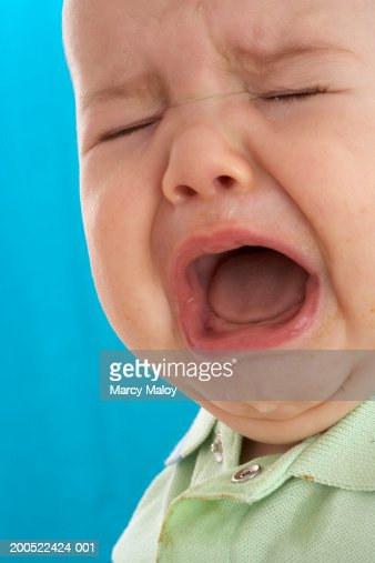 Baby Boy Crying Eyes Closed Stock Photo - Getty Images