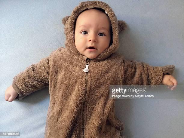 Baby boy dressed as a teddy bear