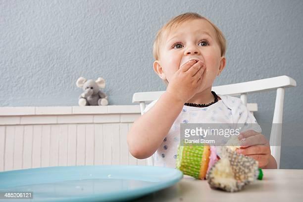 baby boy eating cupcake - sugar baby imagens e fotografias de stock