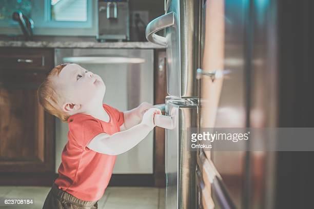 Baby Boy Grabbing Refrigerator Handle in Kitchen