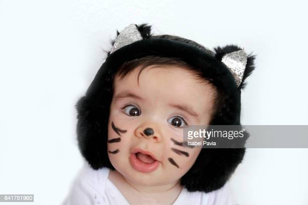 baby boy in cat costume - cat costume stock photos and pictures