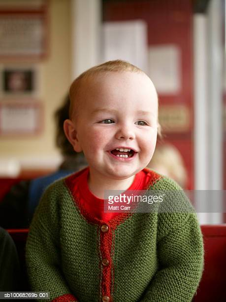 baby boy (18-23 months) laughing, indoors - 18 23 months stock pictures, royalty-free photos & images
