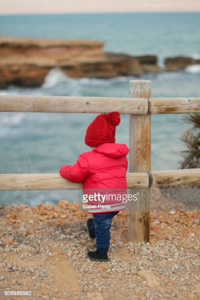 Baby boy looking at sea through fence