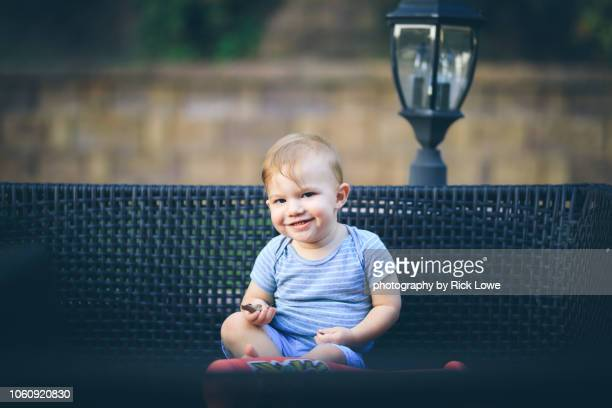 Baby Boy Outdoors Smiling