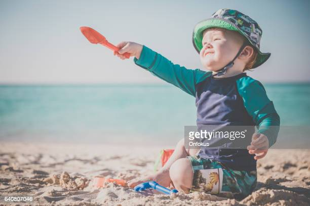 Baby Boy Playing on Tropical Beach, Cayo Coco, Cuba