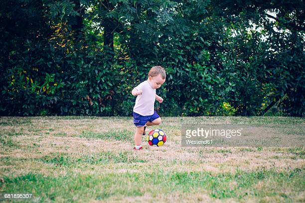 Baby boy playing soccer on a meadow