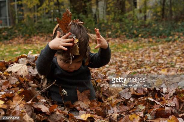 Baby Boy Playing With Fallen Autumn Leaves In Yard