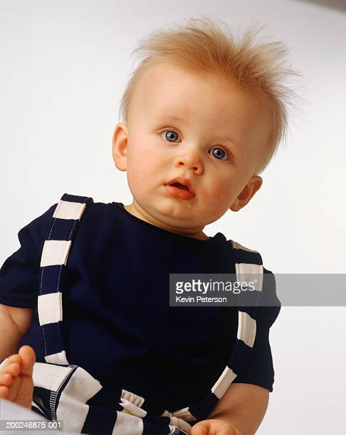 baby boy (15-18 months) sitting, posing in studio, (portrait) - one baby boy only stock pictures, royalty-free photos & images