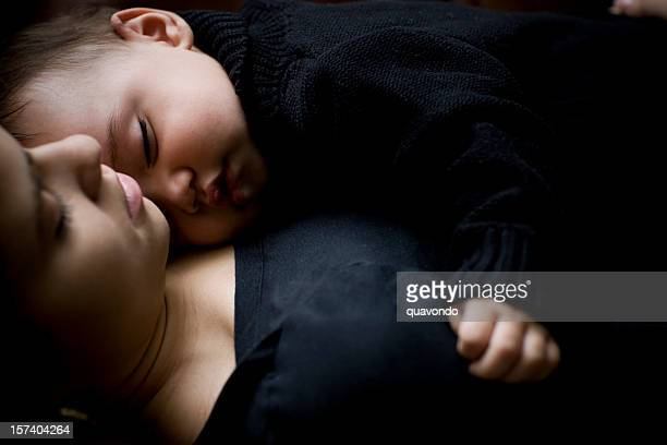 Baby Boy Sleeping on Mother, Copy Space