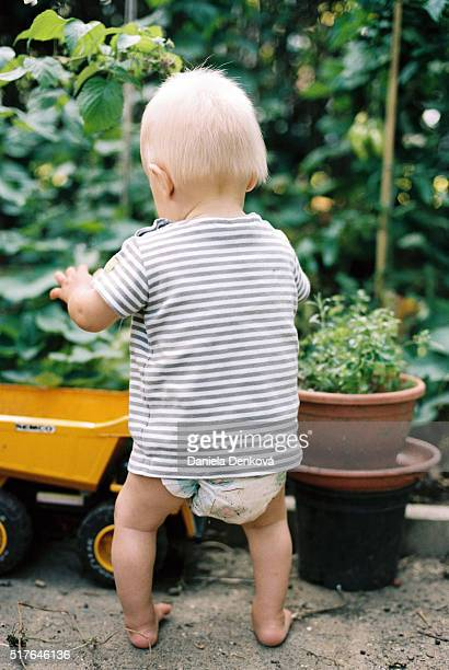 Baby boy standing in garden and playing