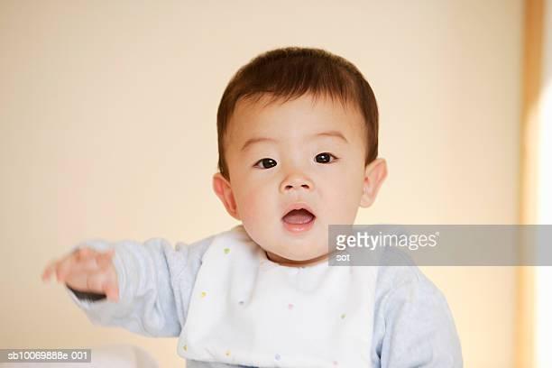 Baby boy (6-11 months) wearing bib, portrait
