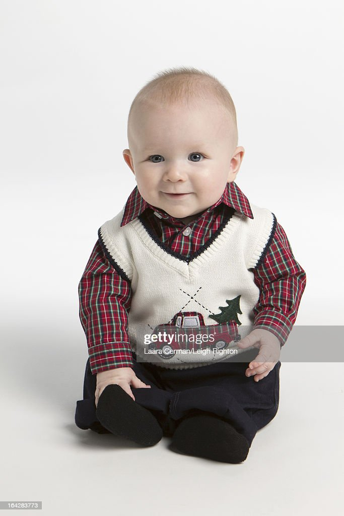 Baby Boy With Christmas Clothes Stock Photo Getty Images