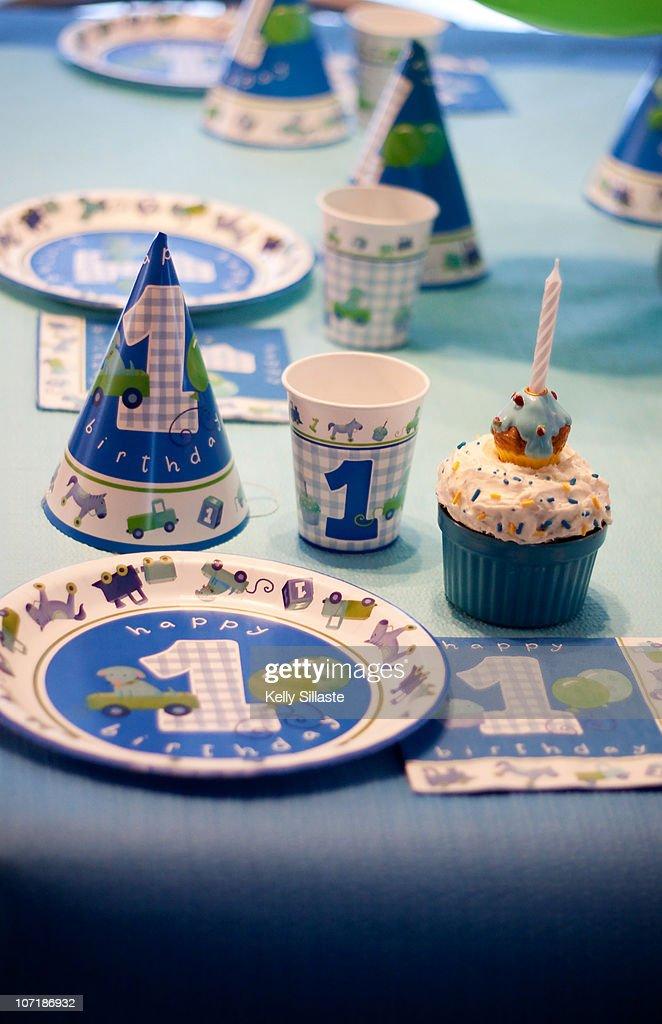 A Baby Boys 1st Birthday Decorations Stock Foto