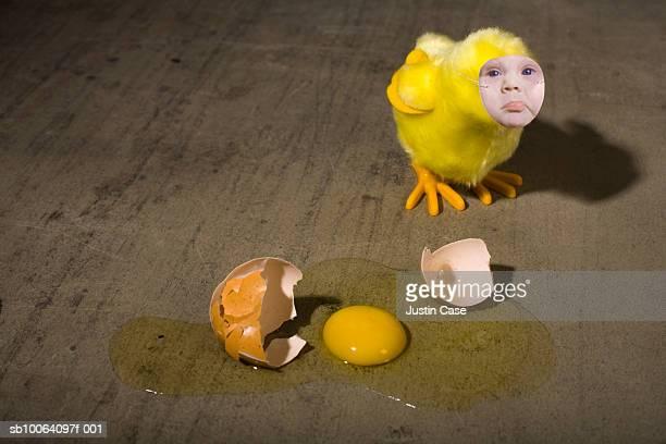 Baby boy's face on chicken, broken egg besides (digital composite)
