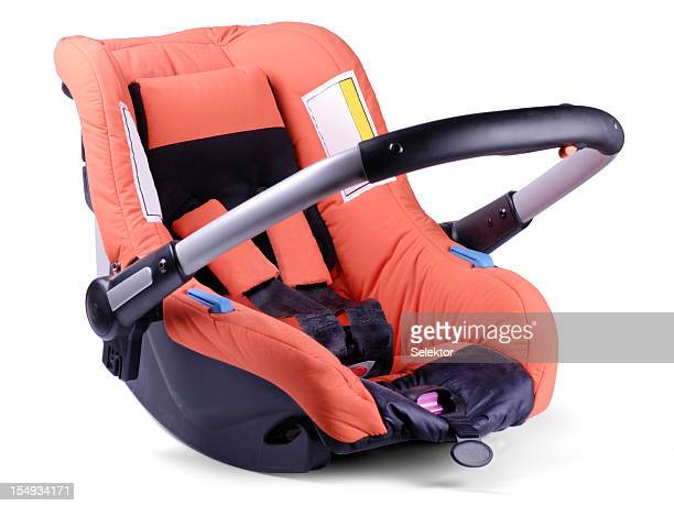 Baby car and travel seat on white background